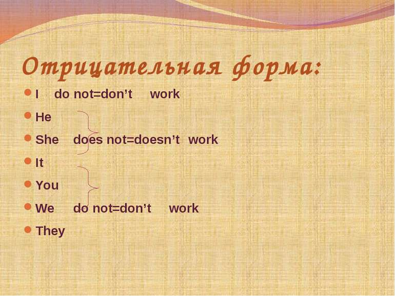 Отрицательная форма: I do not=don't work He She does not=doesn't work It You ...