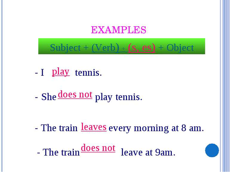 EXAMPLES - I tennis. - She play tennis. - The train every morning at 8 am. - ...