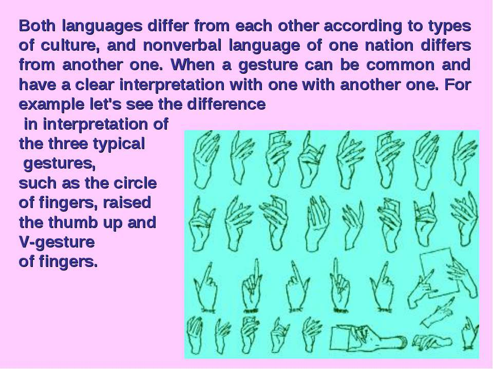 Both languages differ from each other according to types of culture, and nonv...