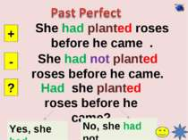 She had planted roses before he came . + - ? She had not planted roses before...