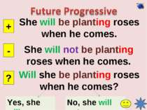 She will be planting roses when he comes. + - ? She will not be planting rose...