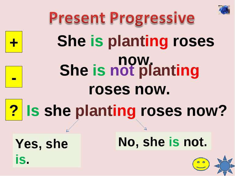 She is planting roses now. + - ? She is not planting roses now. Is she planti...