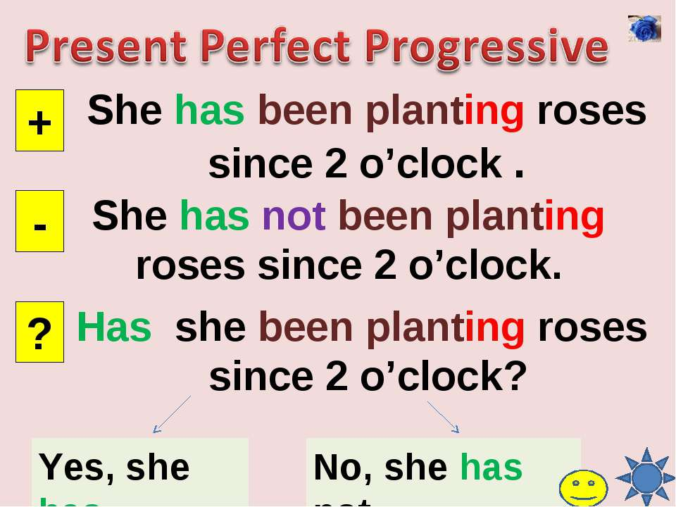 She has been planting roses since 2 o'clock . + - ? She has not been planting...