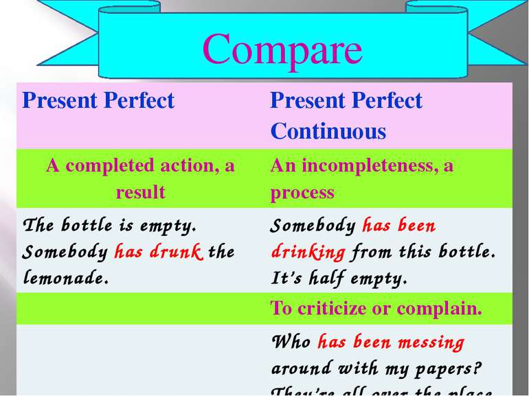 Compare Present Perfect Present Perfect Continuous A completedaction, a resul...