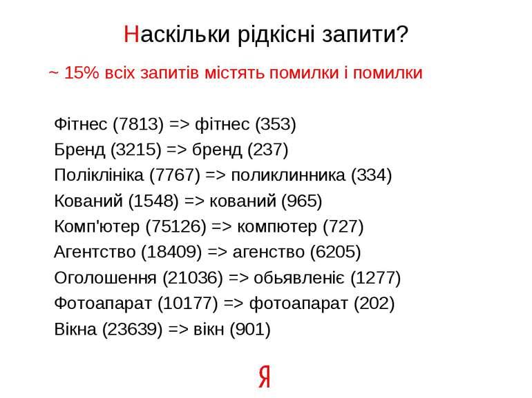 Наскільки рідкісні запити? ~ 15% всіх запитів містять помилки і помилки Фітне...