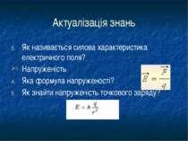 Актуалізація знань Як називається силова характеристика електричного поля? На...