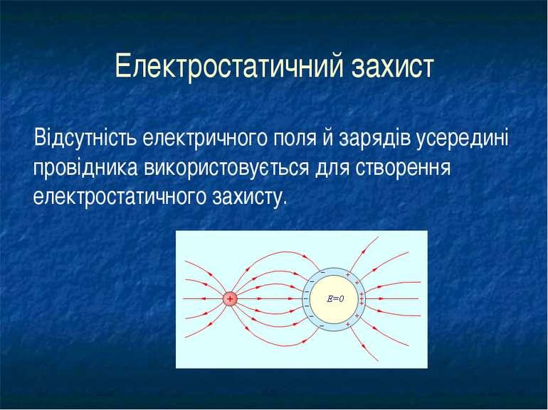 Електростатичний захист Відсутність електричного поля й зарядів усередині про...