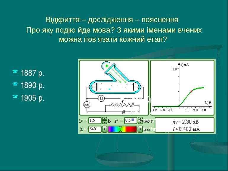 1890 год Олександр Григорович Столєтов встановив кількісні закономірності фот...