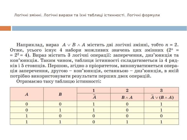 Логічні змінні. Логічні вирази та їхні таблиці істинності. Логічні формули