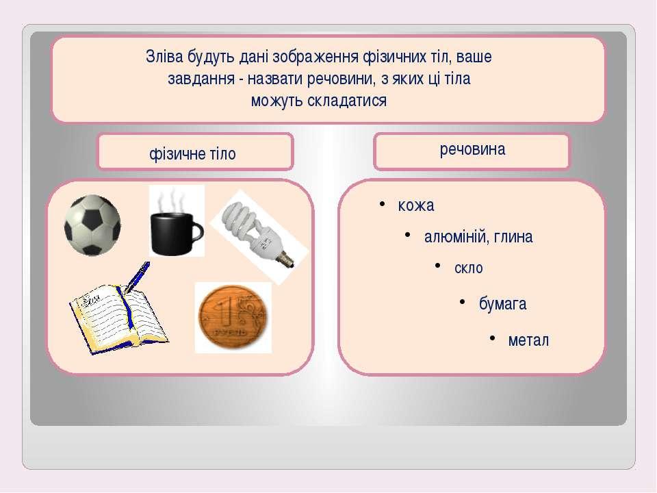 Зліва будуть дані зображення фізичних тіл, ваше завдання - назвати речовини, ...