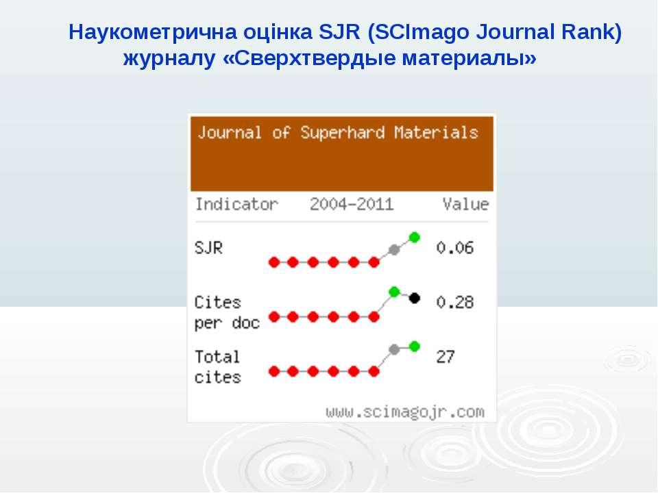 Наукометрична оцінка SJR (SCImago Journal Rank) журналу «Сверхтвердые материалы»