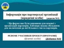 Інформація про партнерські організації (юридичні особи) Ця форма має бути зап...