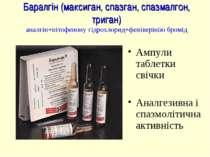 Баралгін (максиган, спазган, спазмалгон, триган) аналгін+пітофенону гідрохлор...