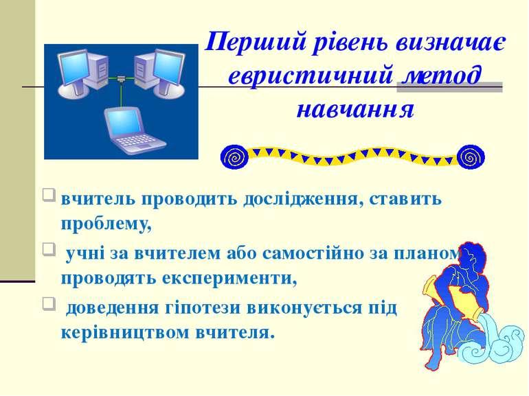 Перший рівень визначає евристичний метод навчання вчитель проводить досліджен...