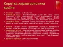 Коротка характеристика країни Столиця - Москва- 11,6 млн. чол. Найбільші міс...