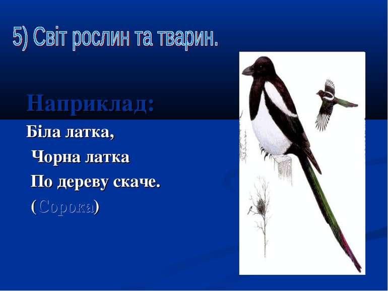 Наприклад: Біла латка, Чорна латка По дереву скаче. (Сорока)
