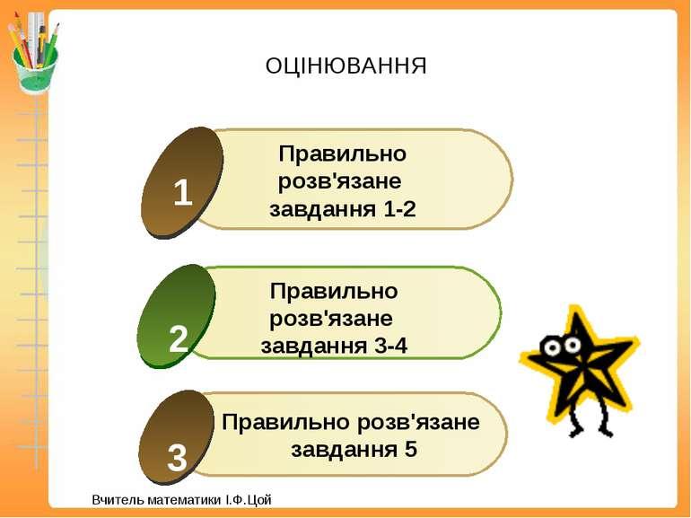 ОЦІНЮВАННЯ Правильно розв'язане завдання 5 Вчитель математики І.Ф.Цой