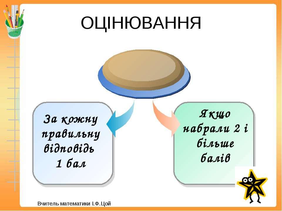 ОЦІНЮВАННЯ Якщо набрали 2 і більше балів За кожну правильну відповідь 1 бал В...