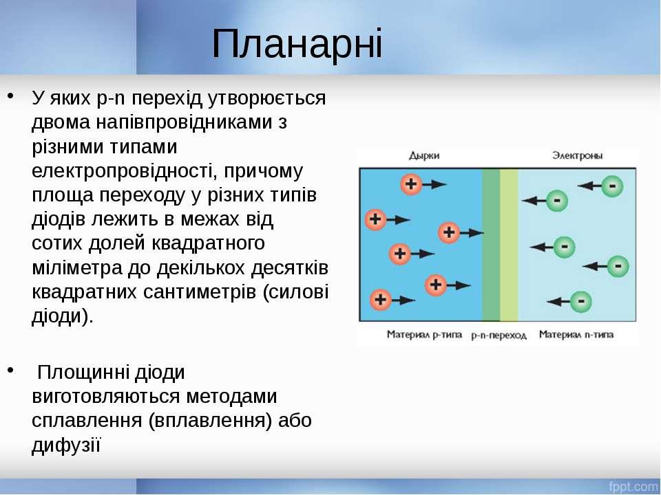 Планарні У яких р-n перехід утворюється двома напівпровідниками з різними тип...