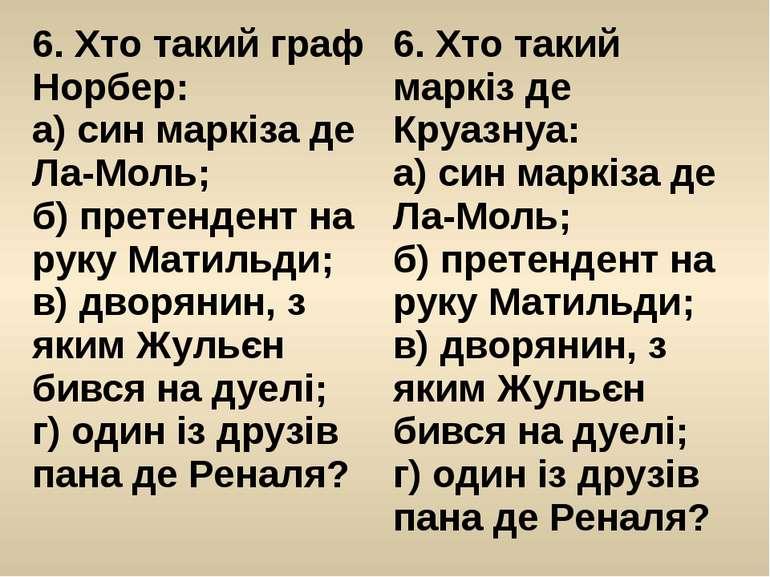 6. Хто такий графНорбер: а) син маркіза деЛа-Моль; б) претендент на руку Мати...