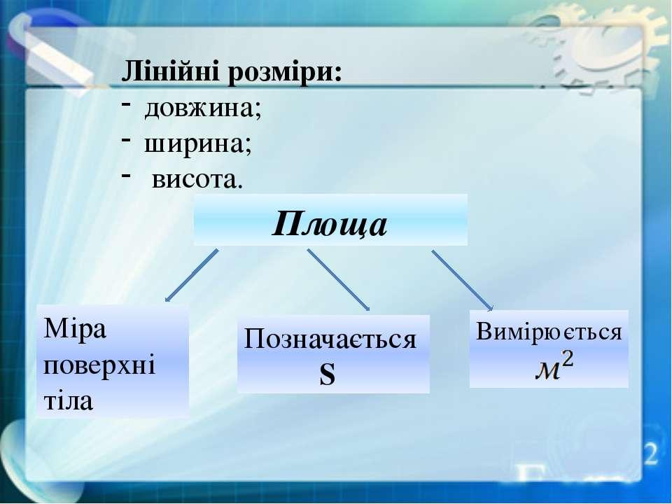 Лінійні розміри: довжина; ширина; висота. Площа Міра поверхні тіла Позначаєть...
