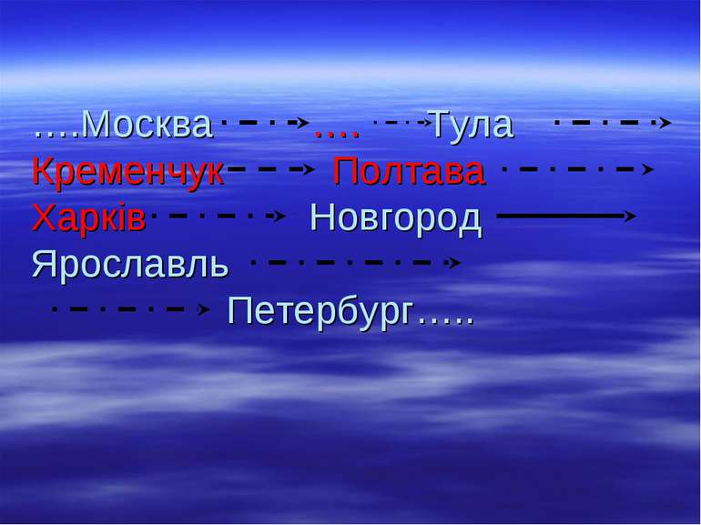 ….Москва …. Тула Кременчук Полтава Харків Новгород Ярославль Петербург…..