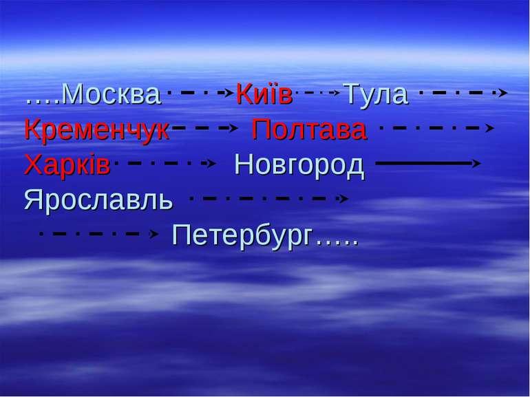 ….Москва Київ Тула Кременчук Полтава Харків Новгород Ярославль Петербург…..