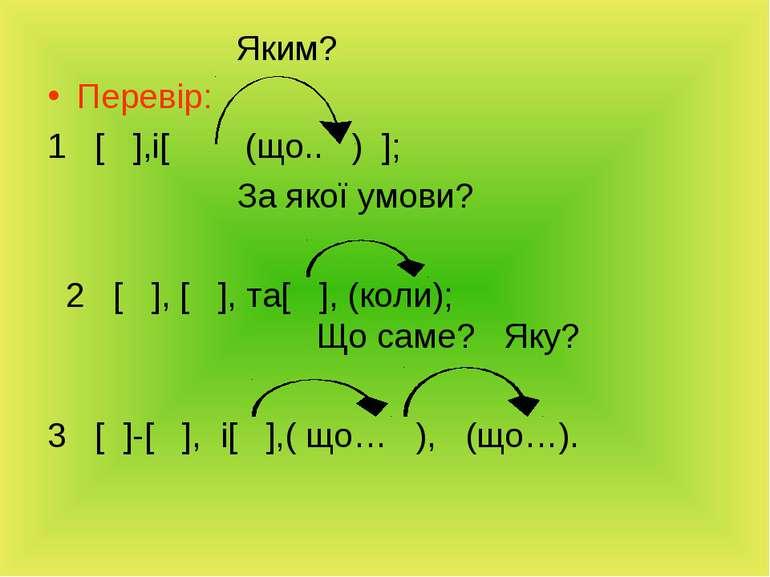 Яким? Перевір: 1 [ ],і[ (що.. ) ]; За якої умови? 2 [ ], [ ], та[ ], (коли); ...