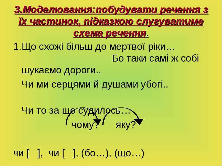 3.Моделювання:побудувати речення з їх частинок, підказкою слугуватиме схема р...