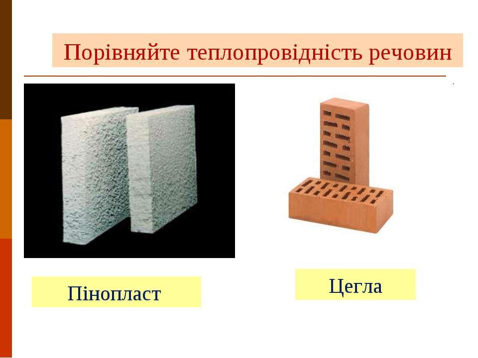 Пінопласт Цегла Порівняйте теплопровідність речовин