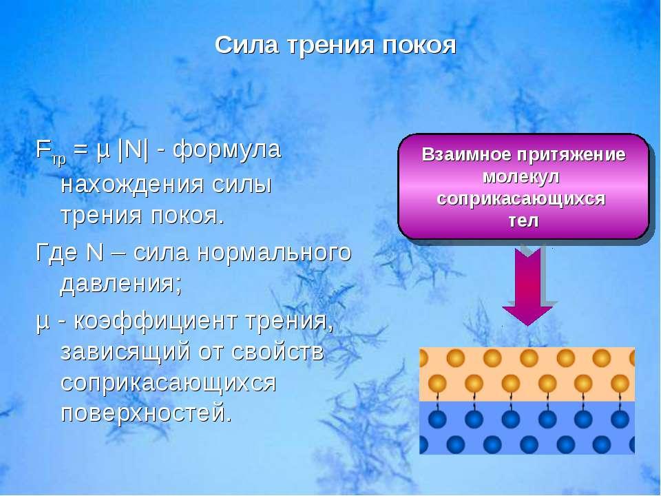 Взаимное притяжение молекул соприкасающихся тел Fтр = µ |N| - формула нахожде...