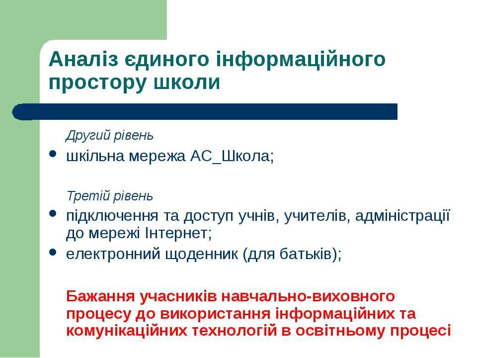 Аналіз єдиного інформаційного простору школи Другий рівень шкільна мережа АС_...