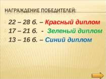 22 – 28 б. – Красный диплом 17 – 21 б. - Зеленый диплом 13 – 16 б. – Синий ди...