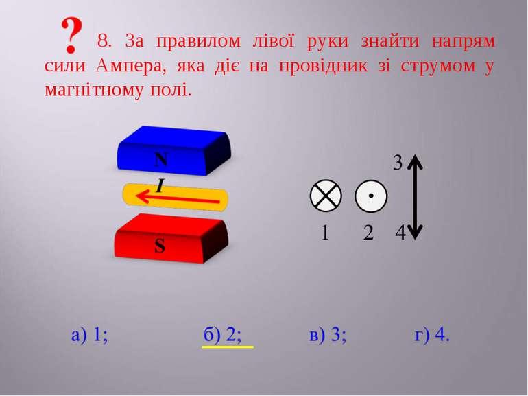 8. За правилом лівої руки знайти напрям сили Ампера, яка діє на провідник зі ...