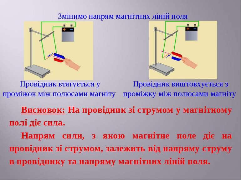 Змінимо напрям магнітних ліній поля Провідник втягується у проміжок між полюс...