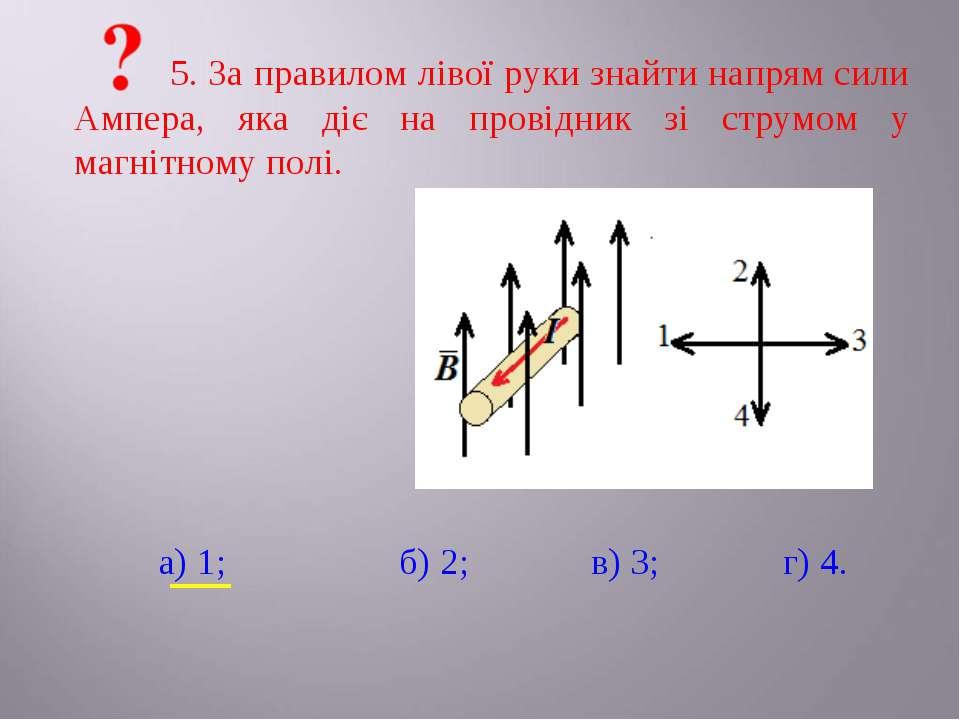 5. За правилом лівої руки знайти напрям сили Ампера, яка діє на провідник зі ...