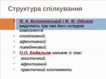 Структура спілкування Я. А. Коломинський і М. М. Обозов виділяють три такі йо...