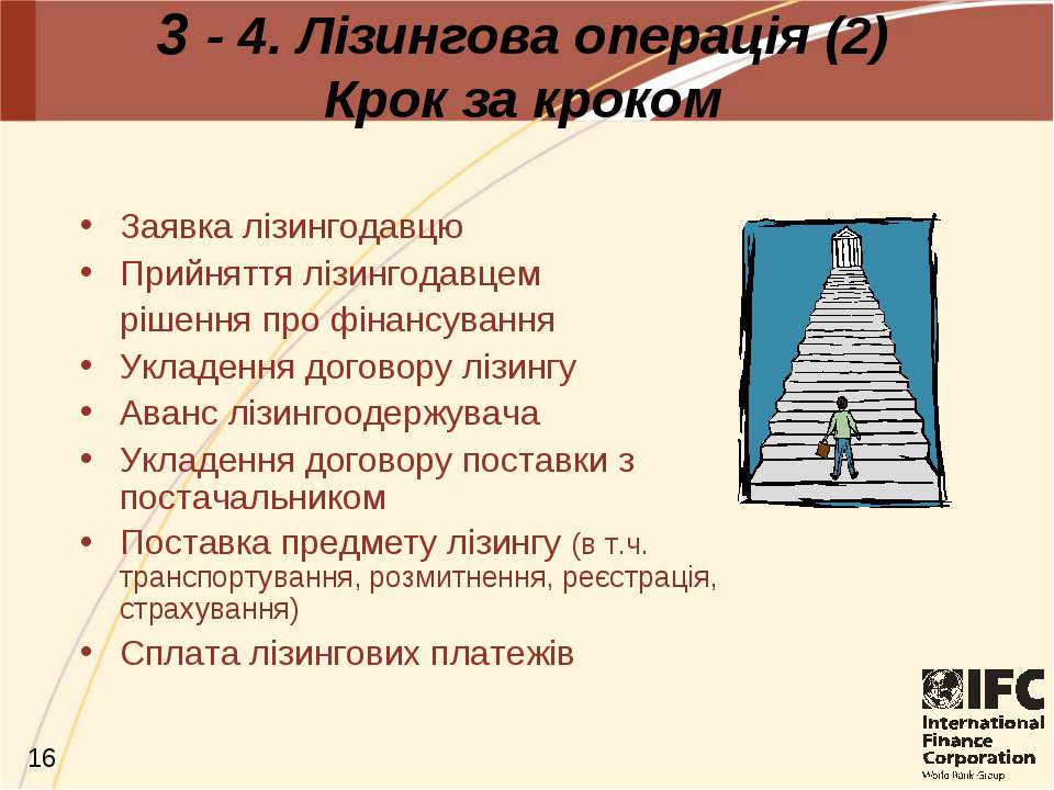 3 - 4. Лізингова операція (2) Крок за кроком Заявка лізингодавцю Прийняття лі...