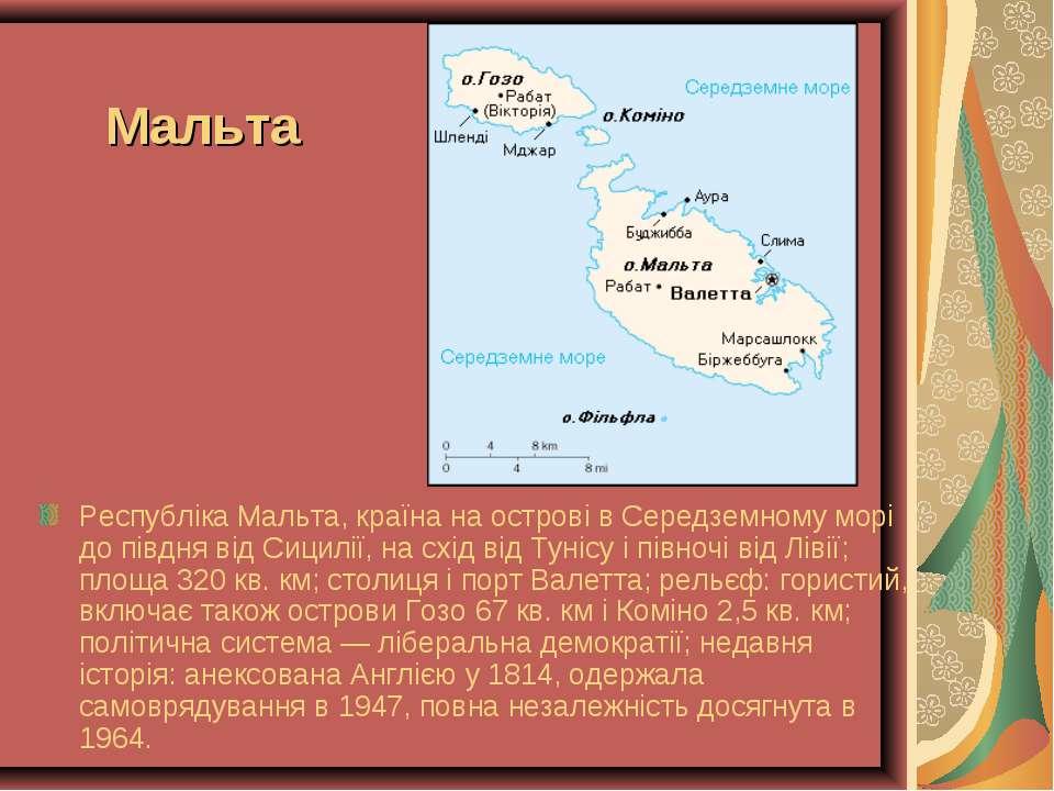 Мальта Республіка Мальта, країна на острові в Середземному морі до півдня від...