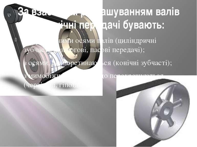 За взаємним розташуванням валів механічні передачі бувають: з паралельними ос...