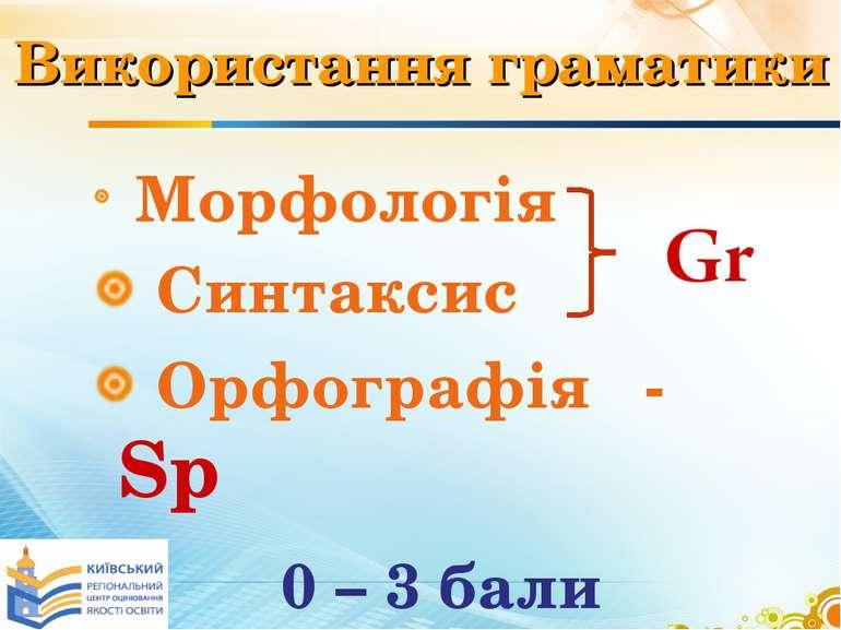 Використання граматики Морфологія Синтаксис Орфографія - Sp 0 – 3 бали