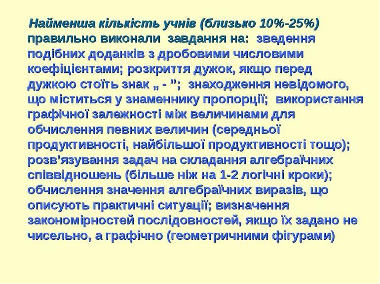 Найменша кількість учнів (близько 10%-25%) правильно виконали завдання на: зв...