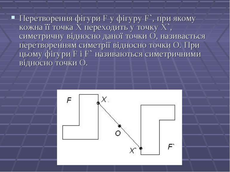 Перетворення фігури F у фігуру F`, при якому кожна її точка Х переходить у то...