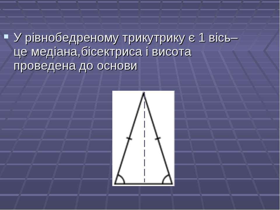 У рівнобедреному трикутрику є 1 вісь– це медіана,бісектриса і висота проведен...