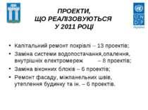 ПРОЕКТИ, ЩО РЕАЛІЗОВУЮТЬСЯ У 2011 РОЦІ Капітальний ремонт покрівлі – 13 проек...