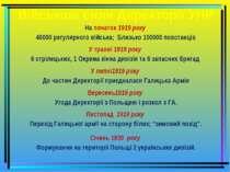 Військові сили Директорії УНР На початок 1919 року 40000 регулярного війська;...