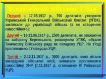 Всеукраїнські військові з'їзди: Перший – 17.05.1917 р., 700 делегатів утворил...