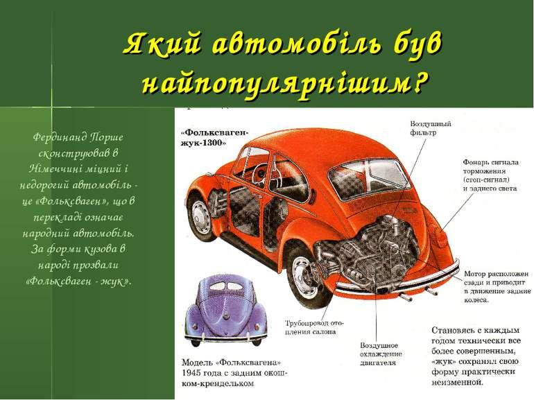 Який автомобіль був найпопулярнішим? Фердинанд Порше сконструював в Німеччині...