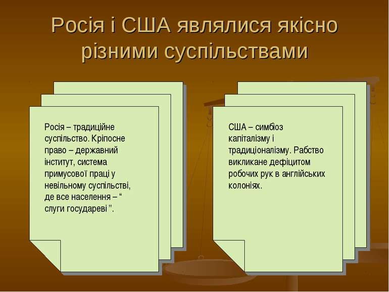 Росія і США являлися якісно різними суспільствами Росія – традиційне суспільс...