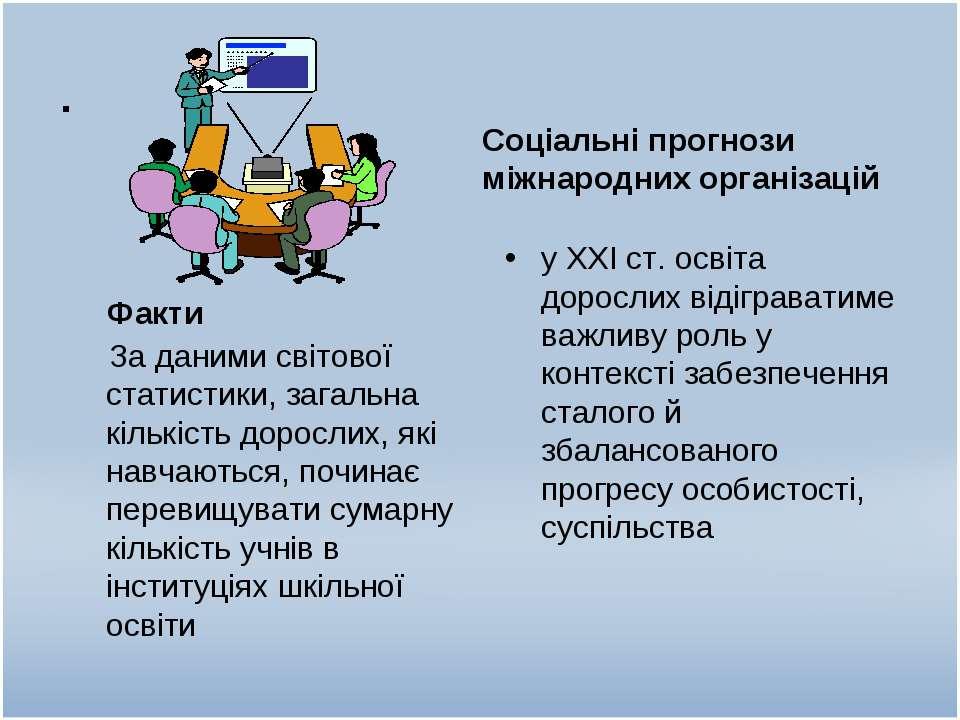 . Факти Соціальні прогнози міжнародних організацій За даними світової статист...